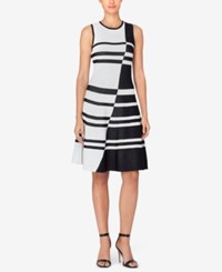 Catherine Malandrino Striped Jacquard Fit And Flare Dress Black White
