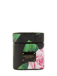 Dolce And Gabbana Printed Leather Airpod Case Rose