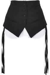 Ann Demeulemeester Layered Cotton Blend Poplin Belt Black Gbp