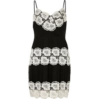 River Island Womens Petite Black And White Lace Bodycon Dress