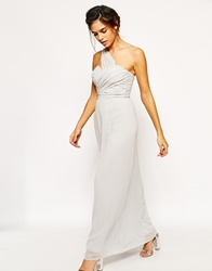 Elise Ryan One Shoulder Waisted Maxi Dress Grey