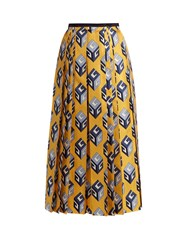 Gucci Gg Wallpaper Print Pleated Silk Midi Skirt Yellow Print
