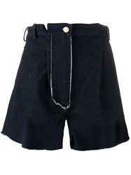 Natasha Zinko Raw Edge High Waisted Shorts Blue