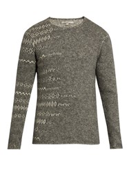 John Varvatos Crew Neck Abstract Sweater Grey