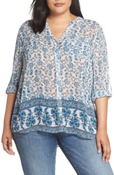 Kut From The Kloth Plus Size Floral Print Blouse Grey Navy