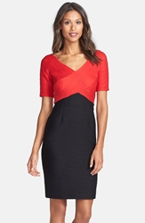 Nue By Shani Colorblock Ottoman Knit Sheath Dress Black Red