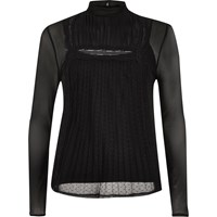 River Island Womens Black Long Sleeve Lace Mesh Top