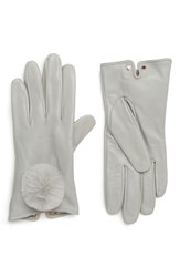 Ted Baker London Pom Leather Touchscreen Gloves Grey