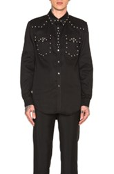 Givenchy Two Pocket Studded Denim Shirt In Black
