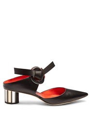 Proenza Schouler Front Tie Block Heel Leather Sandals Black