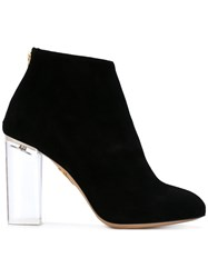 Charlotte Olympia Chunky Heel Ankle Boots Women Leather Suede 39 Black