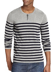 Vince Wool And Cashmere Breton Striped Henley Coastal Heather