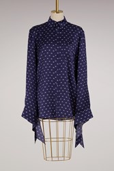 Balenciaga Oversize Shirt With Knotted Cuffs Navy