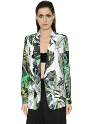 Max Mara Tropical Print Twill And Natte Jacket