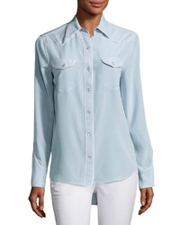 Rag And Bone Jesse Pearly Snap Western Shirt With Contrast Piping Light Gray