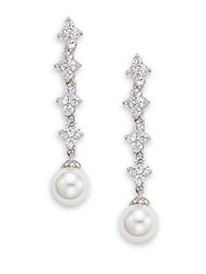 Saks Fifth Avenue 15Mm Round Freshwater Pearl And Crystal Linear Drop Earrings Rhodium