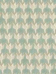 M.C.Escher Two Birds Printed Wallpaper Beige Blue