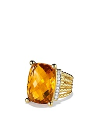 David Yurman Wheaton Ring With Citrine And Diamonds In Gold Yellow Gold