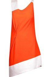 Roland Mouret Anser Two Tone Wool Crepe Mini Dress Bright Orange