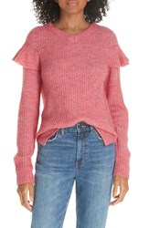 Rebecca Taylor La Vie Frill Detail Ribbed Wool Blend Sweater Rosehp