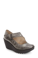 Fly London Women's 'Yasi' Wedge Pump Silver Leather