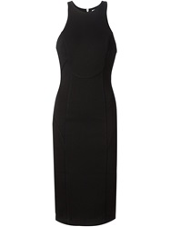 T By Alexander Wang Fitted Midi Dress Black