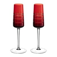 Christofle Graphik Champagne Flutes Set Of 2 Red