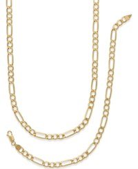 Macy's Men's Chain Necklace And Bracelet Set In 10K Gold Yellow Gold
