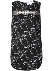 Thakoon Addition Lace Panel Floral Sleeveless Top Black