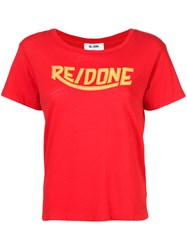 Re Done Logo Print T Shirt Women Cotton L Red