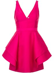 Halston Heritage Short Ruffle Dress Pink And Purple