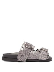 Ganni Double Strap Leather Slides Grey