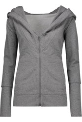 Norma Kamali Cotton Blend Hooded Sweatshirt Gray