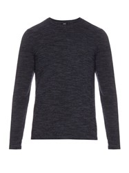Vince Crew Neck Wool And Cashmere Blend Sweater Dark Grey