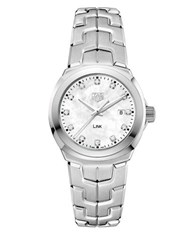 Tag Heuer Link Diamonds Mother Of Pearl And Stainless Steel Bracelet Watch Silver