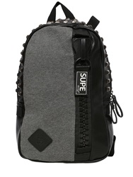 Supe Design Studded Faux Leather Backpack Black Grey