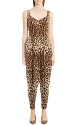 Dolce And Gabbana Women's Leopard Print Stretch Cady Jumpsuit