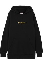 Palm Angels Arrows Printed Cotton Jersey Hooded Top Black