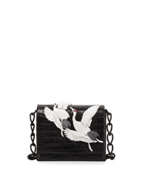 Nancy Gonzalez Gio Crane Embellished Crocodile Crossbody Bag Black Pattern
