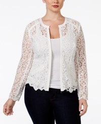 Inc International Concepts Plus Size Crocheted Jacket Only At Macy's Washed White