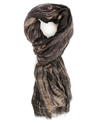Ikks Black Brown Tie And Dye Scarf