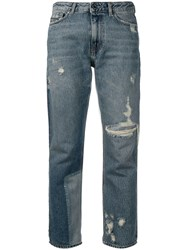 Diesel Black Gold Straight Jeans With Bleached Patch Blue