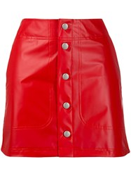 Adidas Buttoned Fitted Skirt Red
