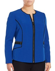 Nipon Boutique Plus Piped Zip Front Jacket Celeste