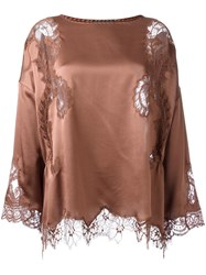 Alberta Ferretti Lace Detail Blouse Brown