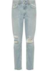 Rag And Bone Marilyn Distressed Mid Rise Skinny Jeans Light Denim