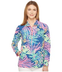 Lilly Pulitzer Upf 50 Skipper Printed Popover Indigo All A Glow Women's Long Sleeve Pullover Blue