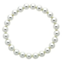 Finesse Glass Faux Pearl Stretch Bracelet Nacre
