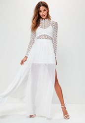 Missguided White Crochet High Neck Long Sleeve Maxi Dress
