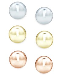 Giani Bernini Tri Tone 3 Pc. Set Stud Earrings In Sterling Silver And 18K Gold Plated Sterling Silver Only At Macy's Multi